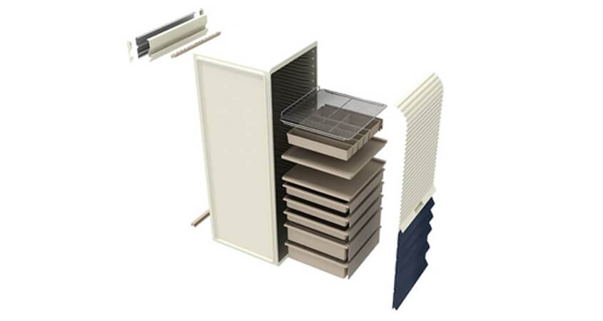 Modular storage with interchangeable components
