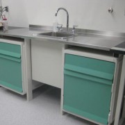Unicell storage and work surface with sink
